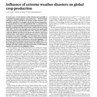 Influence of extreme weather disasters on global crop production